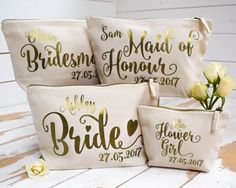 Personalised Bridal Party Gift Make Up Bag - Bridesmaid, Maid of Honour, Flower Girl Gift - Unique Gift for Bridal Party Bags, Makeup Bags