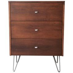 Paul Mccobb Commode / Chest Of Drawers / Dresser - Planner Group Three-Drawer Chest On Hairpin Legs Mid-Century Modern Walnut Antique Furniture, Modern Furniture, Home Furniture, Dresser Drawers, Chest Of Drawers, Paul Mccobb, Hallway Furniture, Hairpin Legs, Filing Cabinet