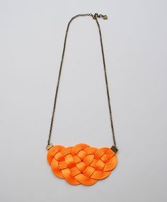 Orange necklace knot necklace nautical wedding bib by elfinadesign Orange Necklace, Summer Necklace, Knot Necklace, Crochet Necklace, Macrame Cord, Nautical Wedding, Spring Trends, Knots, Diy Crafts