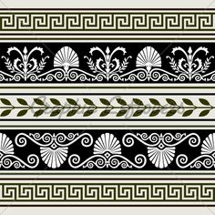 Decorative vector ornaments, antique greek borders, full scalable vector graphic included Eps and 300 dpi JPG. Border Pattern, Pattern Art, Tile Patterns, Textures Patterns, Geometric Patterns, Greek Pattern, Ancient Greek Art, Ancient Greece, Creta