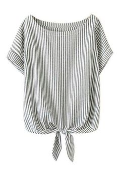 Shop ROMWE Self-tie Bowknot Striped Rolled-cuffs Loose Bowknot online. ROMWE offers ROMWE Self-tie Bowknot Striped Rolled-cuffs Loose Bowknot & more to fit your fashionable needs.I have always and probably always will love striped shirts. T-shirts or Diy Kleidung, Fashion Outfits, Womens Fashion, Fashion Trends, Fashion Styles, Latest Street Fashion, Seersucker, Blouse Designs, Shirt Blouses