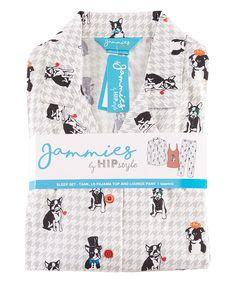 Red Boston-Terrier Three-Peice Pajama Set