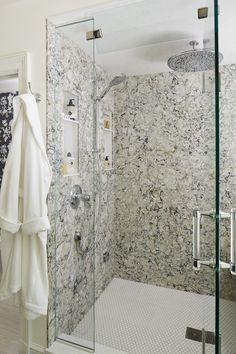 Diagonal tile shower walls with mosaic flooring | Bathrooms ...
