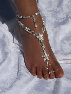 Barefoot+Sandals+Foot+Jewelry+Anklet+by+SubtleExpressions+on+Etsy