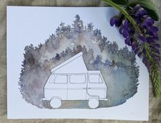 Volkswagen Westfalia Van and Forest Print of Watercolor