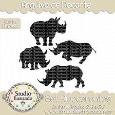 Rhino Set, Set Rinocerontes, Animal Selvagem, Chifres, Floresta, Wild Animal, Cuernos, Bosque, Animal Wild, Horns, Forest, Corte Regular, Regular Cut, Silhouette, Arquivo de Recorte, DXF, SVG, PNG