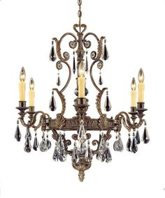 "Savoy House 1-6202-6 Marseille 6 Light 29"" Wide 1 Tier Chandelier with Crystal A Moroccan Bronze Indoor Lighting Chandeliers"