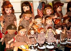 Brownie Scouts come in many shapes and sizes. These dolls date from the 1940's to the 1960's. They are made by several different doll companies including Terri Lee, Effanbee, Ginny, and Georgene