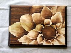 THIS WOULD MAKE AN AMAZING CABINET DOOR!  Wood Stain Shading Artwork Wooden Plaque w/ Flower by SyWoodInk, $65.00