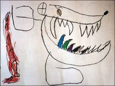 Child art therapy monster drawings, following the death of two family members
