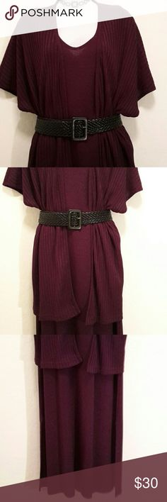 Fitting Image 2pc Purple Career Dress Suit Excellent Condition, Ribbeed Short Sleeve Jacket, Side Slit, Long Stretch Dress, Side Slit, Very Nice. Accessories not included. Dresses