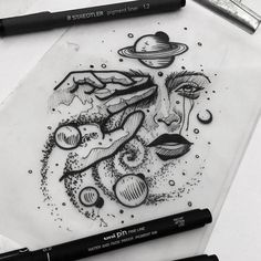 Space Drawings, Dark Art Drawings, Pencil Art Drawings, Art Drawings Sketches, Tattoo Sketches, Tattoo Drawings, Cool Drawings, Body Art Tattoos, Space Tattoos