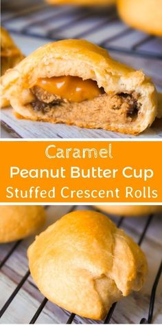 Caramel Peanut Butter Cup Stuffed Crescent Rolls are an easy three ingredient dessert recipe. These Pillsbury crescent rolls are filled with Reese's Peanut Butter Cups and Kraft Caramels. Peanut Butter Cups, Peanut Butter Desserts, Köstliche Desserts, Best Dessert Recipes, Delicious Desserts, Yummy Food, Desert Recipes, Pillsbury Crescent Recipes, Crescent Roll Recipes