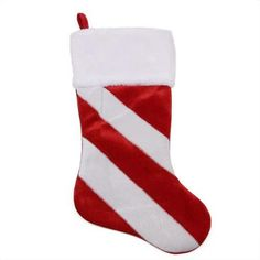"20"" Red and White Candy Cane Inspired Striped Christmas Stocking with White Faux Fur Cuff - Walmart.com"