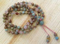 African Blue Opal Mala Beads / Peruvian Blue by NakedPlanetJewelry
