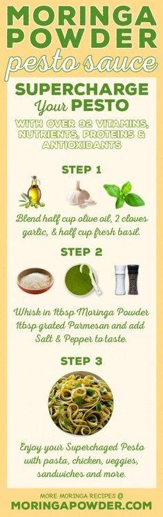 What is Moringa? Discover the benefits of Moringa Leaf Powder : Moringa Powder Pesto Sauce Recipe – Supercharge Your Pesto Moringa Recipes, Superfood Recipes, Vegan Recipes, What Is Moringa, Moringa Benefits, Moringa Powder, Smoothie, Pesto Sauce, Mets