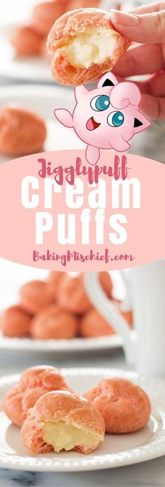 Jigglypuff Cream Puffs! Pink cream puffs filled with a rich vanilla pastry cream. So cute and delicious you'll want to keep them all to yourself.