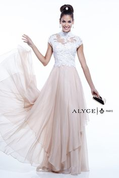 Alyce Paris 6386 Flowy Chiffon Gown with Illusion - French Novelty