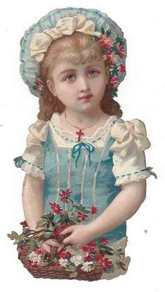 Victorian Die Cut Scraps Precious Blue Eyed Girl with Basket of Flowers