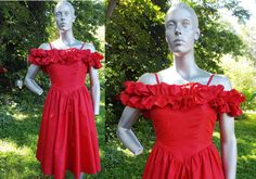 Off the Shoulder 80s Prom Dress with Ruffled by gottagovintage1