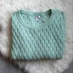 ON Mint Sweater Worn only a couple times. This mint, waffle knit style sweater is a nice thicker top. The minty color is great. Only selling because I have too many sweaters. Old Navy Sweaters
