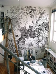 It would be neat to draw a picture and then blow it up on the wall and paint it :) wall drawings - Charlotte Mann
