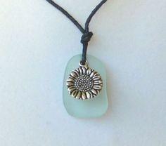 Aqua Sea Glass Sunflower Necklace by WaveofLife