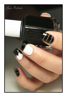 Blanc & Licorice - Essie // Striping tape nails @Elle_Oh_Die