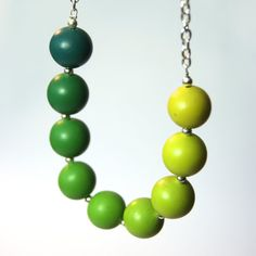 Pretty Pea Green Graduated Bead Necklace by ClareBashamDesigns, £25.00