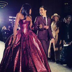 Naomi Campbell and Zac Posen walking down the runway // NYFW