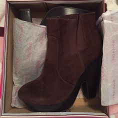 Bamboo Boots Beautiful chocolate brown suede platform ankle boots that have never been worn and are still in original box Bamboo Shoes Ankle Boots & Booties