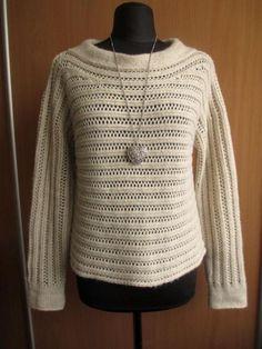 MARCCAIN_ ciepły sweter beżowy melanż oversize_40