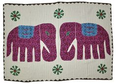 Beautiful Indian Ethnic Designer Cotton Tapestry Elephant Patchwork Wall Hanging #Lalhaveli