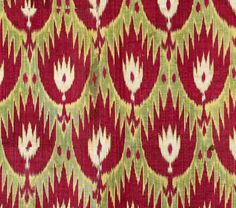 IKAT, Central Asia, Uzbekistan, 146 x 93 cm, early 20th century. A green-ground silk ikat displaying a rare design of red palmettes with expressively serrated outlines. Auction rippon-boswell-wiesbaden.de