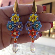 Seed Bead Earrings, Beaded Earrings, Earrings Handmade, Seed Beads, Beaded Bracelets, Drop Earrings, Diy Jewelry, Beaded Jewelry, Craft Day