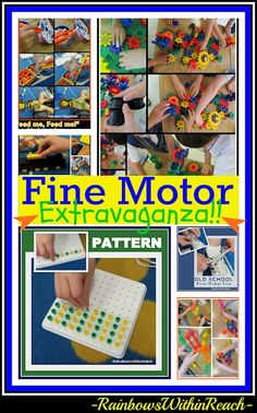 Fine Motor Extravaganza in Kindergarten, Fine Motor Leads to Fine Arts Article -- Some of this article was really sad, not teaching writing skills, or to tie your shoes because of the standardized testing. So sad what has become important. Motor Skills Activities, Gross Motor Skills, Sensory Activities, Classroom Activities, Preschool Activities, Classroom Ideas, Childhood Education, Kids Education, Montessori