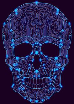 Blue Sugar Skull Over Black Background