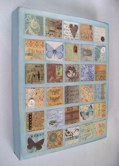 Mixed media original art on canvas duck egg blue by artangel, £42.00