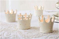 crown centerpiece ideas   love these tiara tea lights !