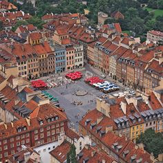 Aerial view of the Old Town in Warsaw. Most of teh city was leveled during WWII, but this section was meticulously rebuilt after the war to faithfully represent what it looked like before the war. Lots of shops, restaurants and interesting things to see in this area- and you never know what you'll find going on in the plaza! -HHC
