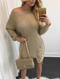 Faroonee Women Ripped Out Holes Sweater and Pullover Irregular Oversized Lady Tricot Knitwear Sexy Sweater Dress Vestido Distressed Sweater Dress, Long Sweater Dress, Casual Sweaters, Long Sweaters, Sweaters For Women, Winter Sweaters, Denim Mantel, Casual Dresses For Women, Clothes For Women