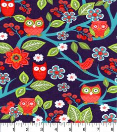 Snuggle Flannel Fabric-Sweet Owl On Branches