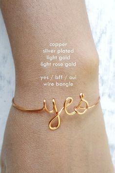 Buy 3 get 1 free / Dainty Yes Bangle Bracelet / Oui Bff Love hope faith name / Wire Word Bracelet / Copper Silver Gold / Pinterest Instagram...