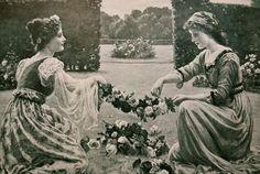 1903 Victorian Era Print of A Garland of Roses