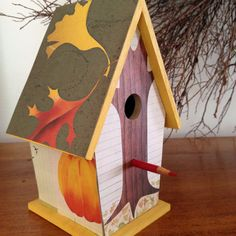 Bookish birdhouse made (for my mom) using Carin Berger's beautiful picture book The Little Yellow Leaf.
