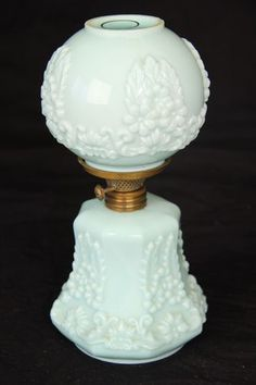 "Antique Paneled Cosmos Green Milk Glass 8"" Miniature Embossed Kerosene Oil Lamp 