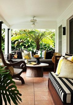 With their outdoor origins, cabana stripes are a natural fit for patio furniture, recalling lazy days of poolside cocktails in some fabulous faraway resort town.
