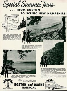 A Boston & Maine Poster from 1953 Poster Drawing, Graphic Design Print, New Hampshire, Locomotive, Travel Posters, Trains, Transportation, Boston, Poster Prints