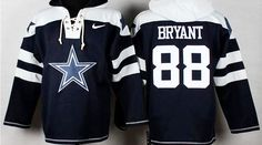 Designed to look like a Hockey jersey this Dallas Cowboys Dez Bryant Long Sleeve Fleece Lined Pullover Rib-knit cuffs and waist, Front pouch pocket Soft fleece lining and stitched numbers and Dez Brya