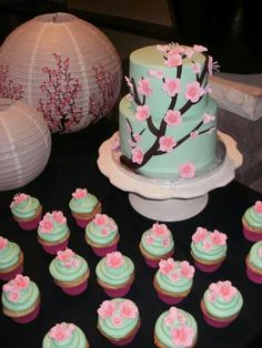 Green with pink cherry blossoms and cupcakes 10 Year Anniversary, Bridal Showers, Wedding Cakes, Cupcakes, Cherry Blossoms, Desserts, Pink, Food, Green